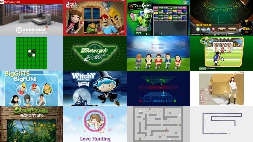 Emblem für «Games und Quizze» – 16 kleine Screenschots von verschiedenen Spielen und Quizze