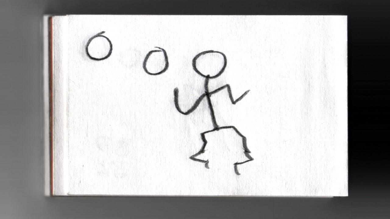 Emblem für Animationen jonglierendes Strichmännlein