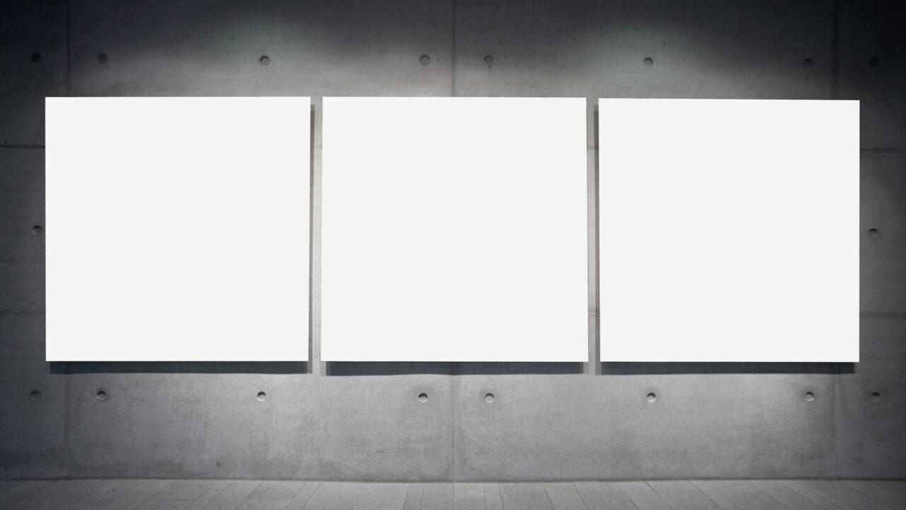 Embem für Installationen – drei weisse Wände