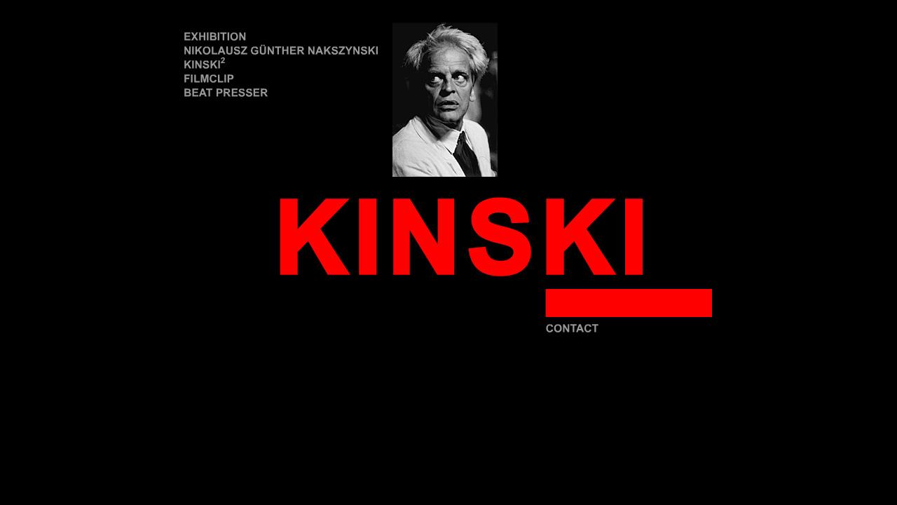 Bildschirmfoto Webdesign M Klaus Kinski – Schauspieler-Website Einstiegsseite