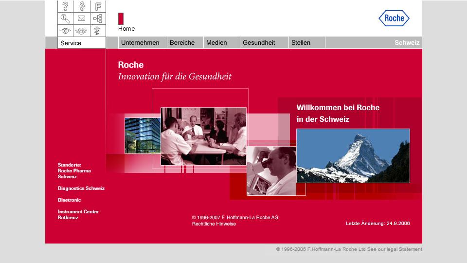 Bildschirmfoto Webdesign XL F. Hoffmann-La Roche AG – Konzernwebsite