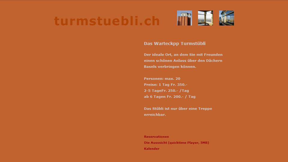 Bildschirmfoto Webdesign XS Turmstübli – Partyraum-Homepage