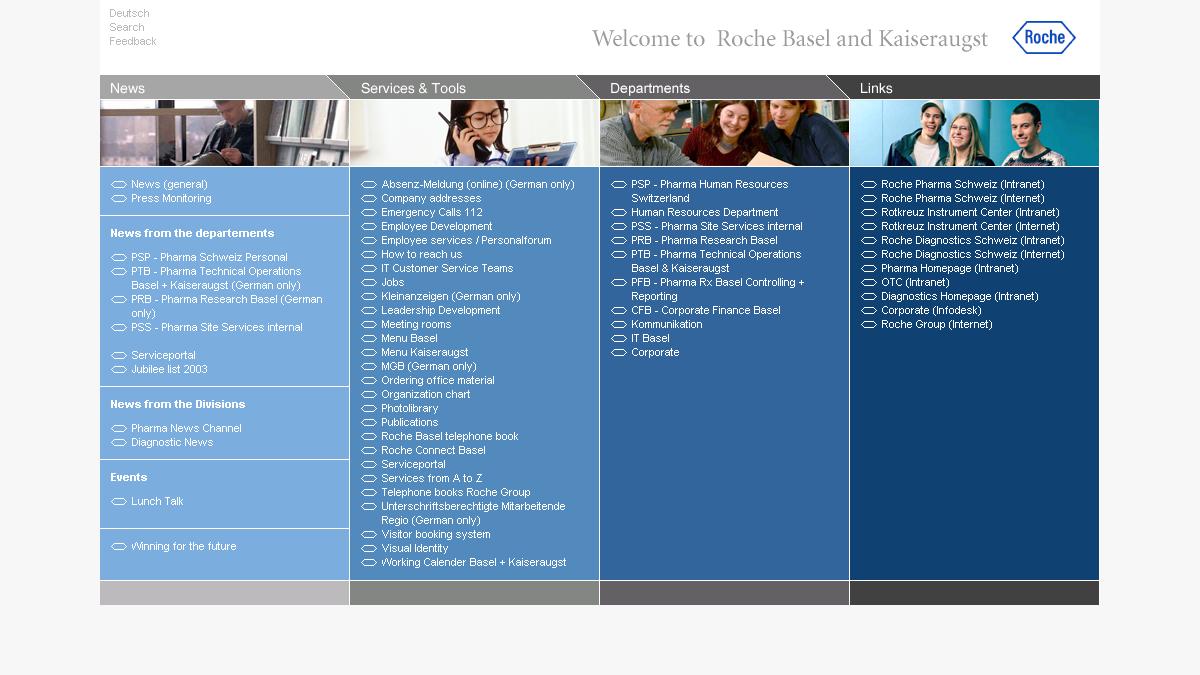 Bildschirmfoto Intranet F. Hoffmann- La Roche AG von Portal Basel