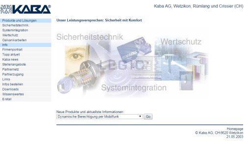 Bildschirmfoto Webdesign XL Kaba Schliesssysteme – Konzernwebsite