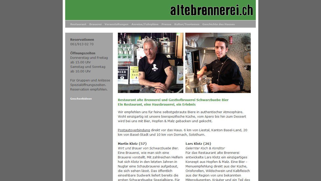 Bildschirmfoto Webdesign M Alte Brennerei – Restaurant-Website Einstiegsseite