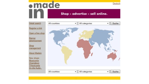 Bildschirmfoto E-Commerce Made In – Online Shop