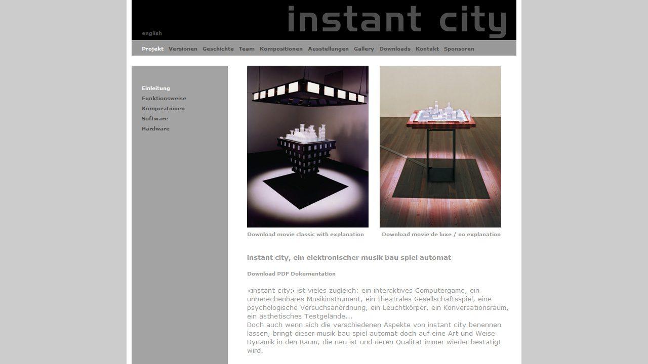 Bildschirmfoto Webdesign L Instantcity, ein elektronischer Musikbauspielautomat