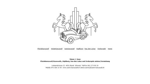 Bildschirmfoto Webdesign XS Senn Karussell – Schausteller-Homepage