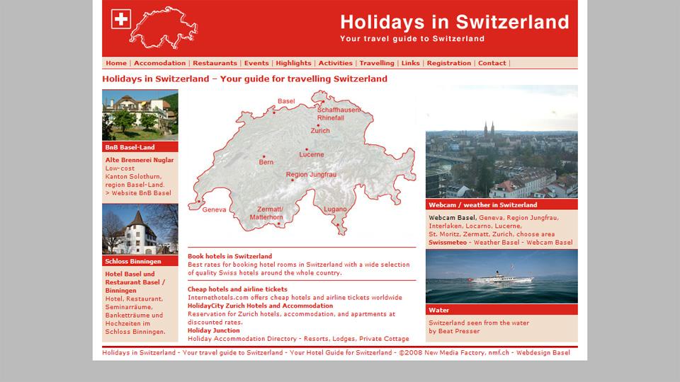 Bildschirmfoto Webdesign S – Holidays in Switzerland – Tourismus-Portal