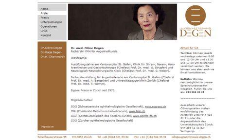 Bildschirmfoto Webdesign S – Augenarztpraxis Degen – Ärzte-Website