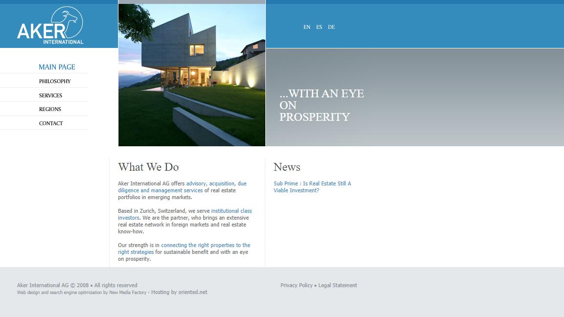 Bildschirmfoto Webdesign S Aker International AG – Immobilien-Website