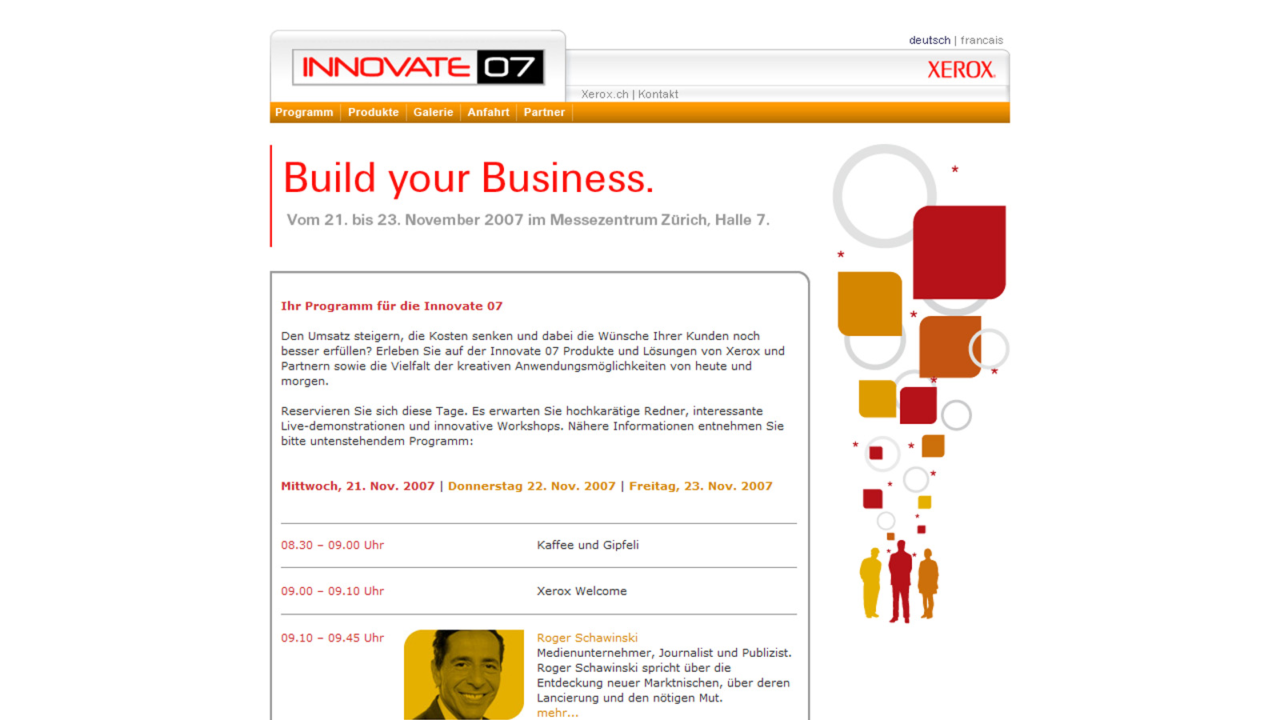 Bildschirmfoto Webdesign L Xerox AG Innovate 07 – Event Website
