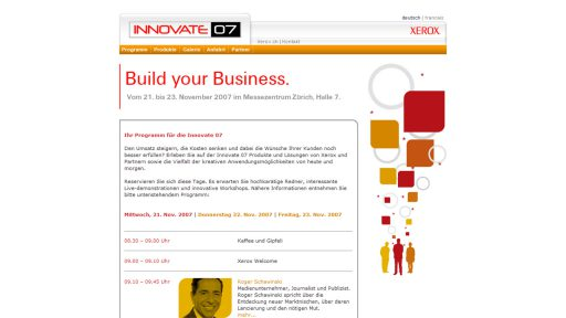 Bildschirmfoto Webdesign L Xerox AG Innovate 07 – Event Website