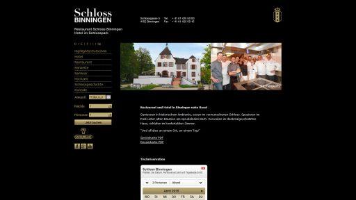 Bildschirmfoto Webdesign L Schloss Binningen – Restaurant und Hotel