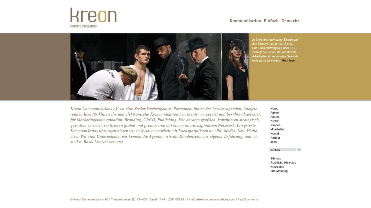 Bildschirmfoto Webdesign L Kreon Communications AG, Werbeagentur – CMS Typo3 Firmenwebsite
