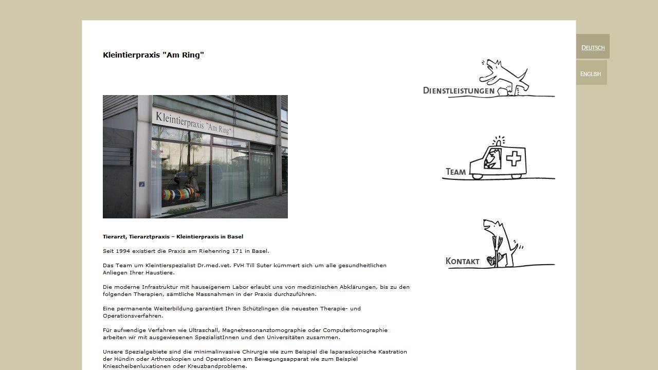 Bildschirmfoto Webdesign S Kleintierpraxis am Ring – Tierarzt-Website