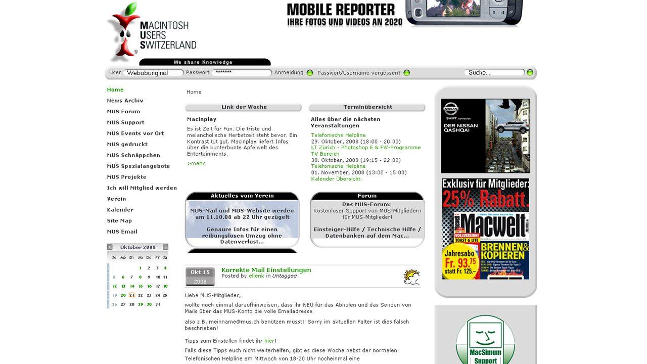 Bildschirmfoto Webdesign XL Macintosh Users Switzerland – Joomla Community Website