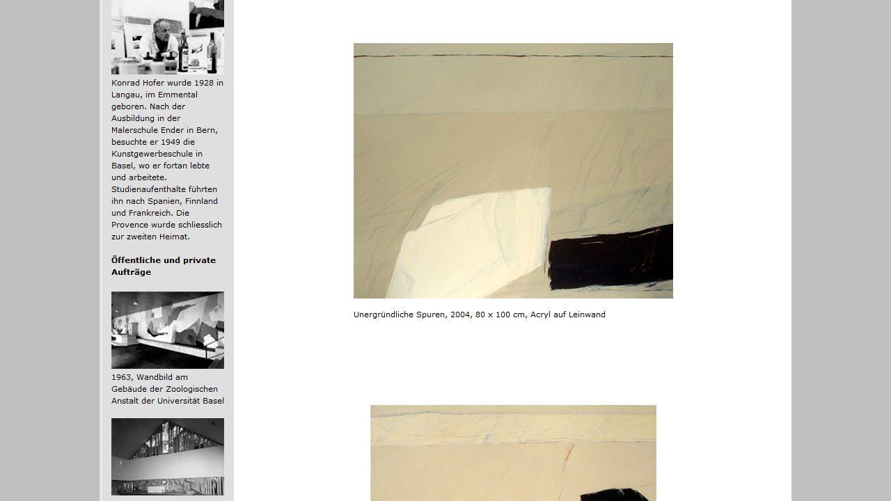 Bildschirmfoto Webdesign XS Konrad Hofer – Künstler-Homepage