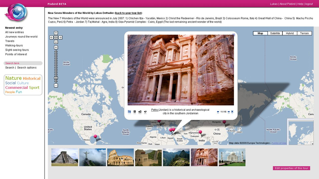 Bildschirmfoto Webdesign XL TimeOffers – Pixbird BETA – Travelling with Google Maps