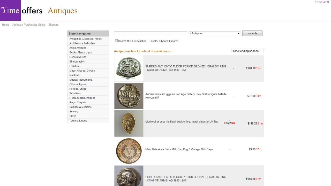 Bildschirmfoto Webdesign XL TimeOffers – Internet Auktion Web-Platform