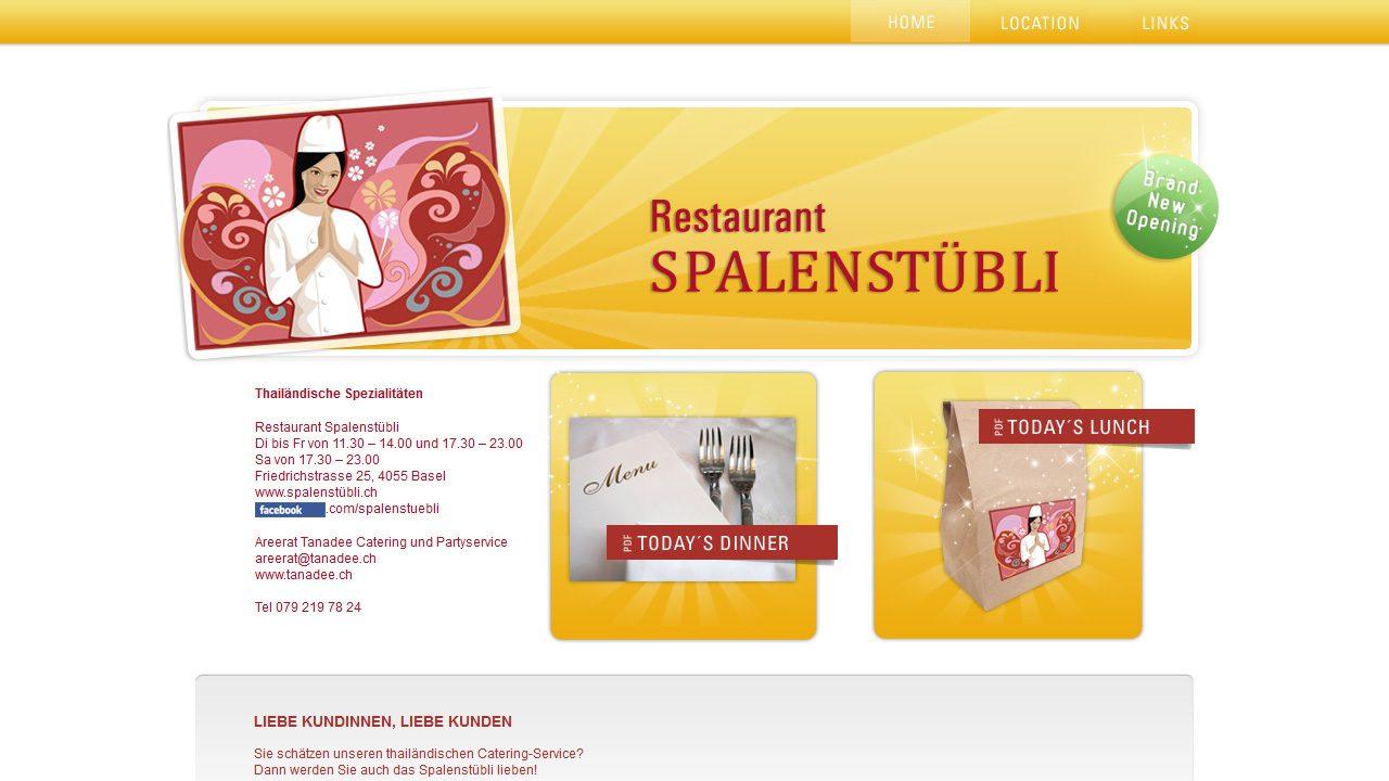 Bildschirmfoto Webdesign S Spalenstübli – Restaurant-Website