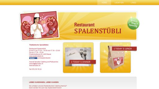Bildschirmfoto Webdesign S Spalenstübli – Restaurant-Website