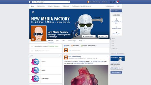 Bildschirmfoto Social Media Plattform Facebook von New Media Factory