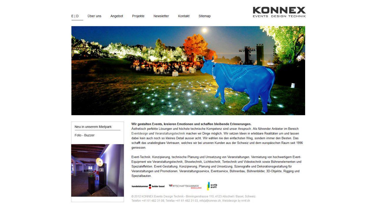 Bildschirmfoto Webdesign L Konnex, Veranstaltungstechnik und Eventtechnik – Firmenwebsite