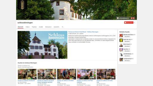 Bildschirmfoto Social Media Plattform YouTube von Schloss Binningen