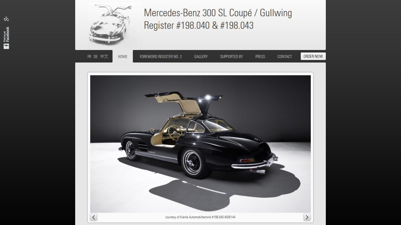 Bildschirmfoto Webdesign M Mercedes Benz 300SL Register – Register-Website Einstiegsseite
