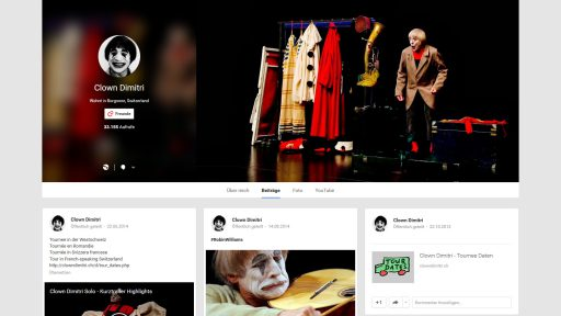 Bildschirmfoto Social Media Plattform Google+ von Clown Dimitri