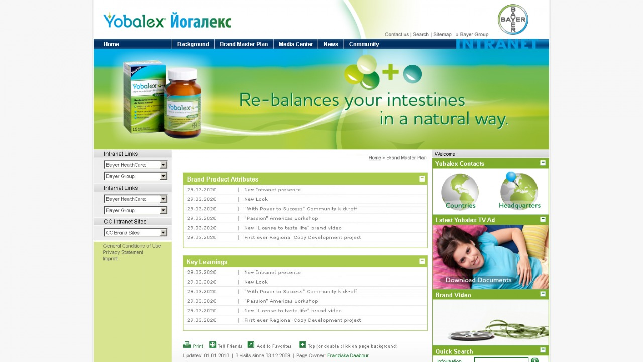 Bildschirmfoto Intranet Bayer Health-Care von Yobalex