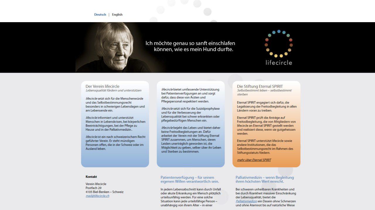 Bildschirmfoto Webdesign XS Lifecircle – Vereins-Homepage