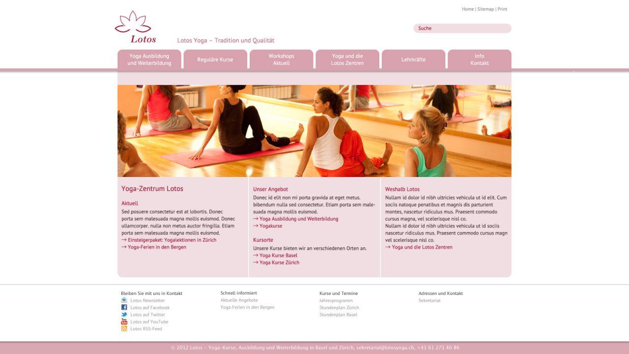Bildschirmfoto Webdesign L Lotos Yoga – Webdesign, CMS Typo3