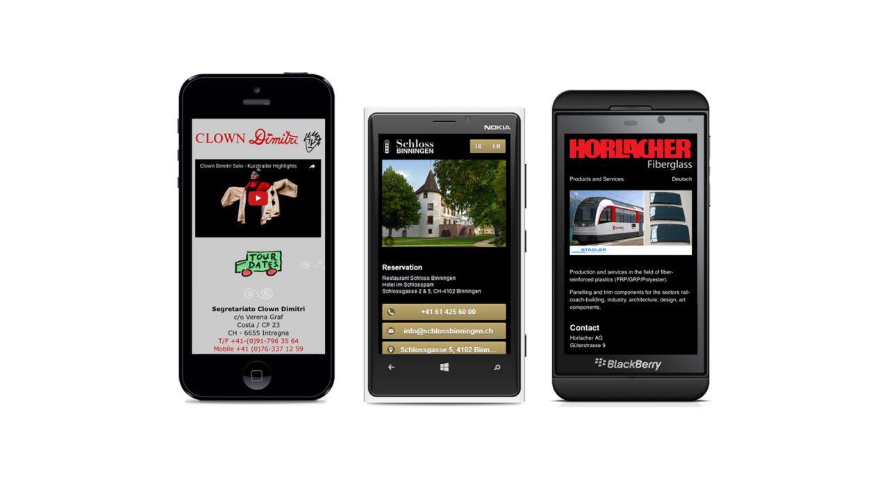 Emblem Webdesign S verschiedene Smartphones