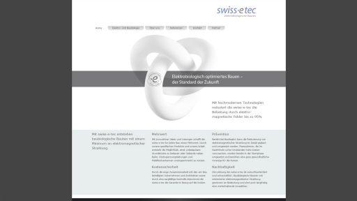 Bildschirmfoto Webdesign S Swissetec Einstiegsseite