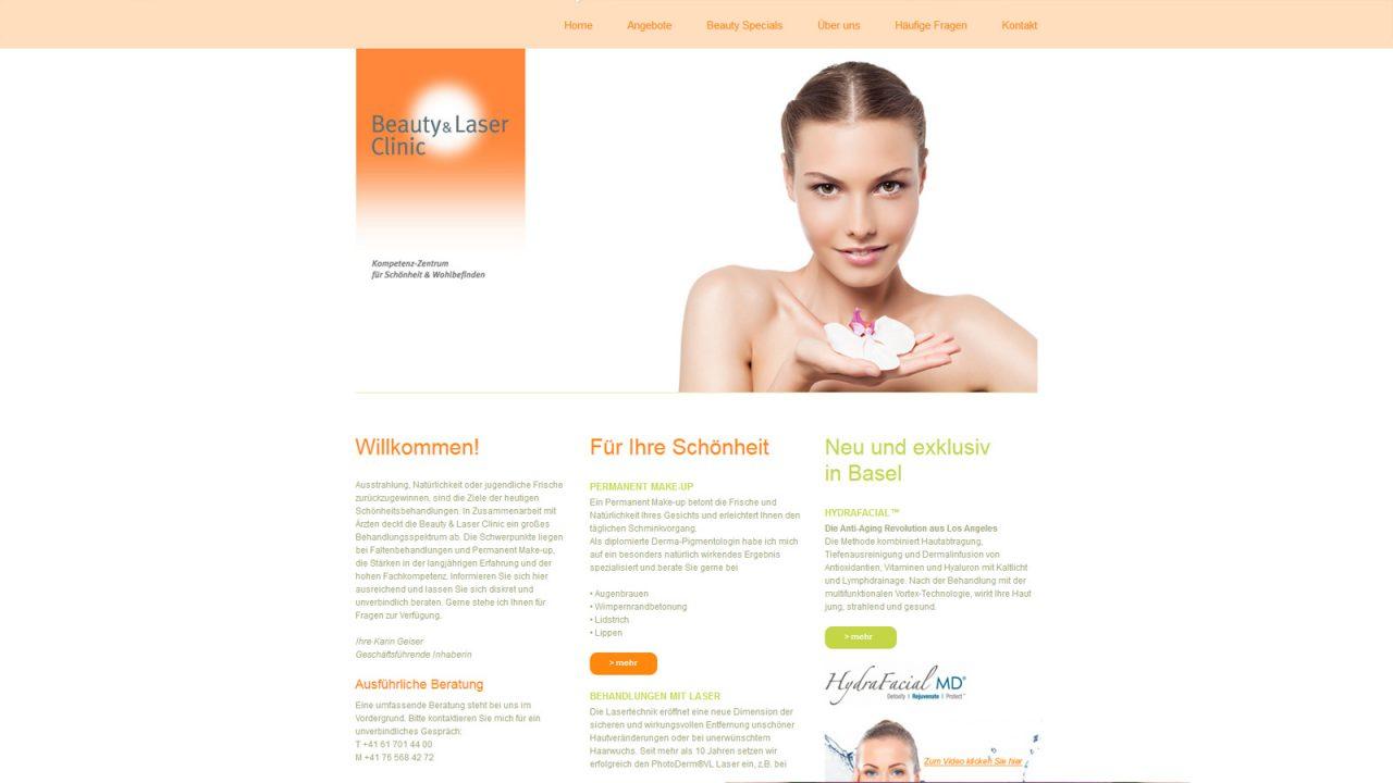 Bildschirmfoto Webdesign S Beauty and Laser Clinic Einstiegsseite