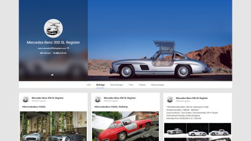 Bildschirmfoto Social Media Plattform Google+ von Mercedes-Benz 300SL Register
