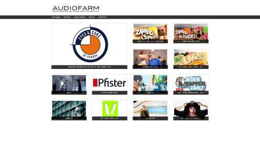 Bildschirmfoto Webdesign M Audiofarm – Tonstudio-Website Einstiegsseite