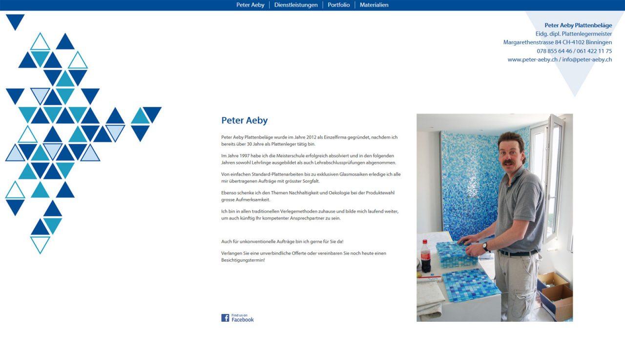 Bildschirmfoto Webdesign S Peter Aeby Plattenbeläge Einstiegsseite