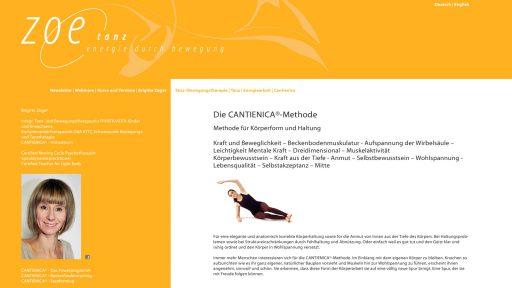 Bildschirmfoto Webdesign L Zoe Tanz – CMS Contao ehemals TypoLight
