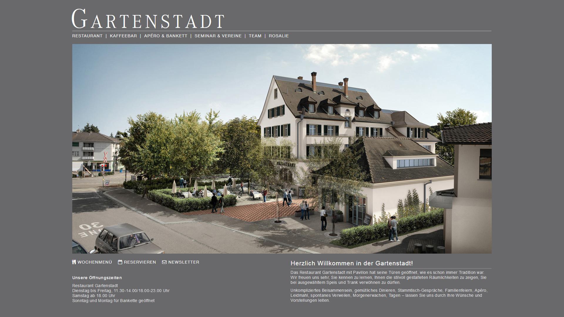 Gartenstadt – Restaurant-Website (Webdesign, WordPress)