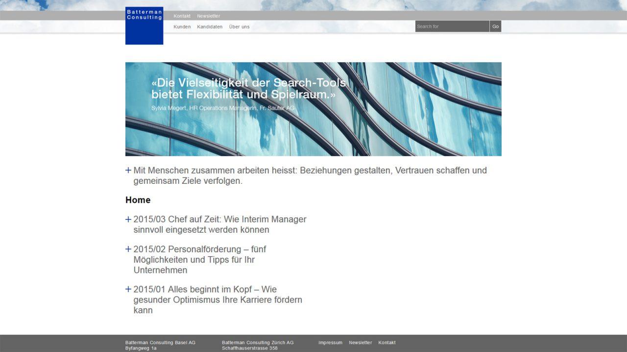 Bildschirmfoto Webdesign L Batterman Consulting – Firmenwebsite und Stellenportal