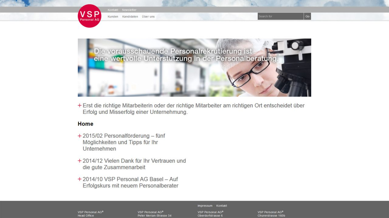 Bildschirmfoto Webdesign L VSP Personal AG – Firmenwebsite und Stellenportal