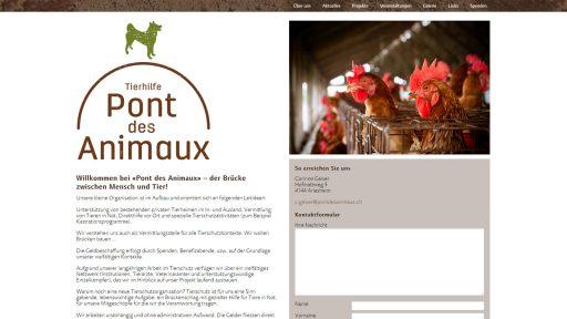 Bildschirmfoto Webdesign M Pont des Animaux – Organisations-Website Einstiegsseite