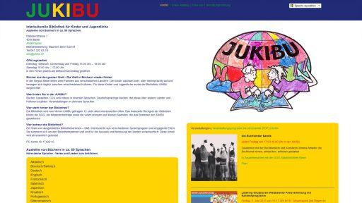 Bildschirmfoto Webdesign S JUKIBU – Bibliotheks-Website