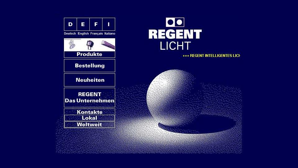 Bildschirmfoto Webdesign L Regent Lighting