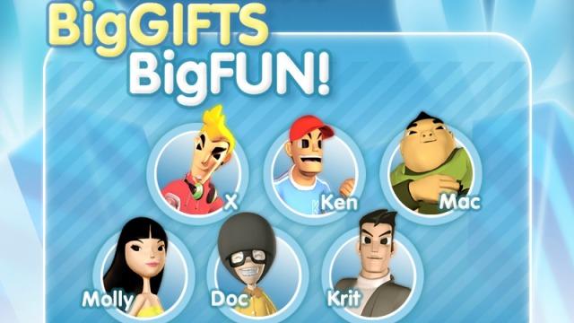 Screenshot des Games «Big Gifts Big Fun» – sechs verschiedene Avatare zum Auswählen