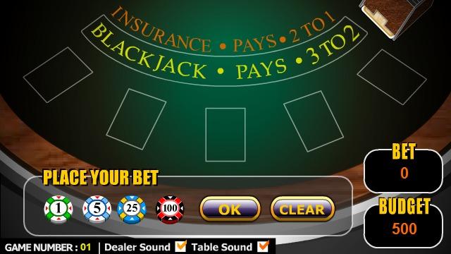 Screenshot des Games «Blackjack» – Spieltisch mit Jetons