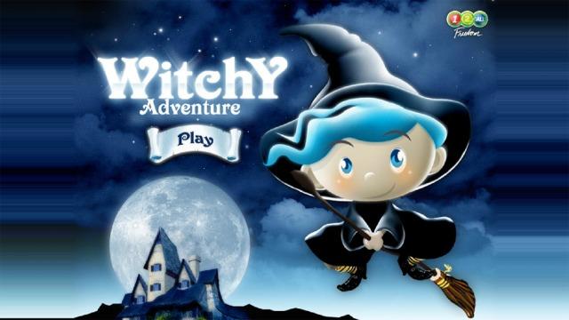Screenshot des Games «Witchy» – Hexe mit Besen, im Hintergrund Vollmond und Geisterhaus